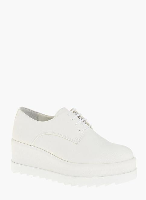 Divarese Dolgu Tabanlı Ayakkabı Beyaz